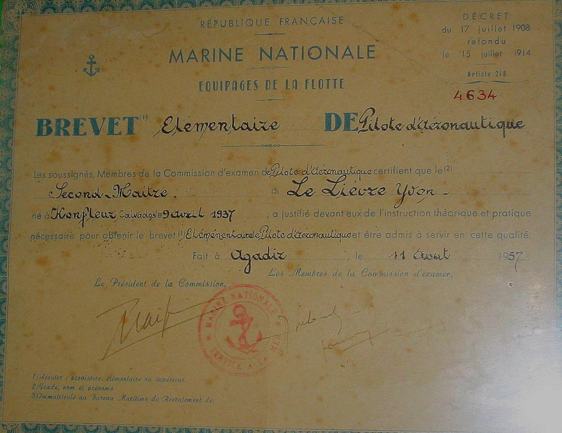 Brevets personnels navigants et pilotes de l'Aeronavale Brevet15